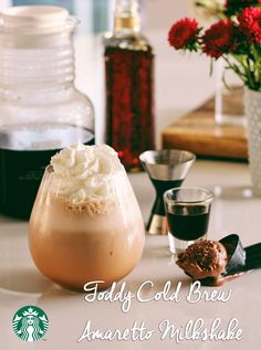How to make a Starbucks Cold Brew Amaretto Milkshake: Using your Toddy Brewer: In a blender, blend 1/2 oz Amaretto, 1/2 oz Kahlua, 2 oz cold water, a scoop of chocolate ice cream, and 6 oz Toddy cold-brewed coffee concentrate (using dark roast beans). Pour into a glass and add whipped cream! Shop the recipe.