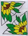 Sunflower stained glass window corners Stained Glass Quilt, Stained Glass Ornaments, Stained Glass Flowers, Faux Stained Glass, Stained Glass Panels, Stained Glass Projects, Stained Glass Patterns, Leaded Glass, Mosaic Glass