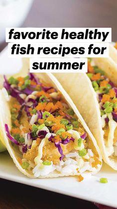Healthy Fish Tacos, Healthy Taco Recipes, Healthy Low Carb Recipes, Healthy Foods To Eat, Fish Taco Recipes, Mexican Food Recipes, Easy Fish Tacos, Cooking Recipes, Seafood Taco Recipe