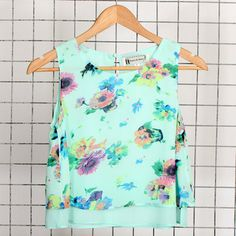 Hearts & Bows Mint Green Floral Crop Top main image
