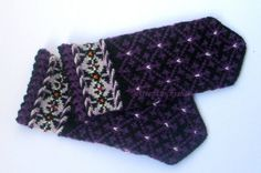 Hand knitted wool mittens.Warm wool mittens.Winters warm mittens.Black with purple and white mittens.Christmas gift idea.