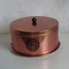 Vintage metal cake carrier or keeper copper finish by Tuttle Corporation