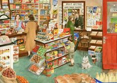 nostalgic village shop painting by tracy hall