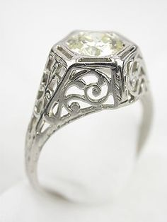 Edwardian Antique Engagement Ring, RG-2662, Topazery | This enchanting Edwardian antique engagement ring plays with geometry and subtlety. www.topazery.com