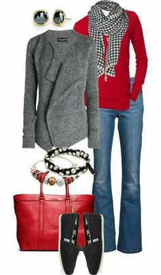 Red, gray and black outfit.