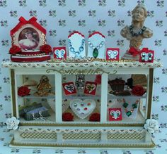 Dolls House Miniatures Dressed Furniture Jewellery Accessories Display Counter Shop 1/12 scale via Etsy