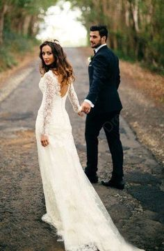 V-neck Lace Tulle Sweep Train Lace Long Sleeve Backless Wedding Dress Sexy dress,Glamorous dress