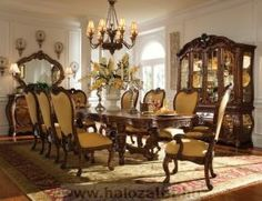 Palais Royale Formal Dining Room Collection by AICO - dining room furniture, dining room sets, dinette sets Dining Room Sets, Country Dining Rooms, Elegant Dining Room, Dining Room Design, Dining Room Table, Dining Chairs, Arm Chairs, Kitchen Tables, Console Tables