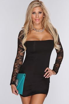 Black Floral Lace Mesh Detail Sexy Party Dress $24.99