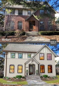 Updated Tudor Home – Home Renovation Tudor House Exterior, Modern Farmhouse Exterior, Exterior House Colors, Exterior Design, Tudor Exterior Paint, Industrial Farmhouse, Home Exterior Makeover, Exterior Remodel, Tudor Style Homes