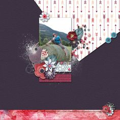 Just Me - digital scrapbook layout I created using A Thousand Words bundle by Pixelily Designs, part of the September Gotta Grab It Event at Gotta Pixel. I love the artsy papers, the lovely flowers and great paint splatters in this bundle
