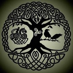 """One of our favourite Norse Mythology images.., 'Yggdrasil, the Tree of Life, along with Odin and his two Ravens, Huginn and Muninn.' RAGNAROK: The Novel Series, is excited to release Book 1, """"Odin's Journey"""". Look for it end of March 2017 through Amazon! To learn more about this epic fantasy, inspired by the ancient legends of Norse Mythology, please visit our website. www.ragnarokthenovelseries.com Thanks for your interest & support!"""