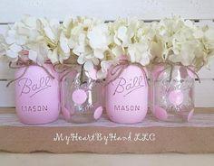 Baby Shower Centerpiece Distressed Mason Jars by MyHeartByHand