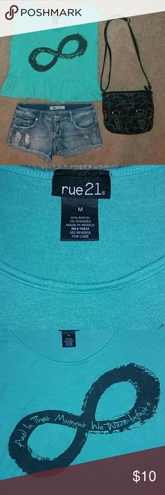 Rue 21 Soft Sleeveless Crop Top This shirt is super soft and feels wonderful! It's 11 inches from the armpit to the bottom.  Tags: Infinite, turquoise Rue 21 Tops Crop Tops