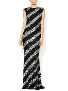 Designer Evening Gowns ::: Alice + Olivia. Cameron Trapeze Sequin Gown. like the stripes. Lorr