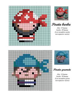 Pirates hama perler beads pattern by simone Tiny Cross Stitch, Beaded Cross Stitch, Cross Stitch Embroidery, Cross Stitch Patterns, Perler Beads, Perler Bead Art, Fuse Beads, Hama Beads Design, Hama Beads Patterns