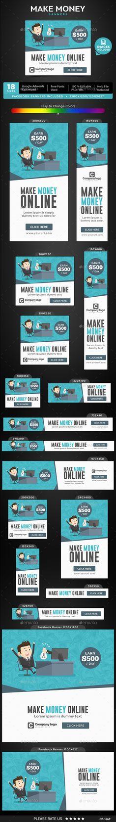 Make Money Banners Template PSD #ads