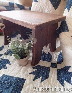 Primitive Antique Wooden Stool Handmade Carved c1900 #handmade www.Vintageblessings.com