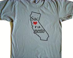 Unisex Sacramento, California Home Tee shirt - American Apparel Power Wash Tee - S,M,L,XL (White, Gray)