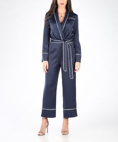 Take a look at this Carla by Rozarancio Dark Blue & White Wrap Jumpsuit today!