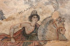 Newly discovered Byzantine mosaics show Amazons hunting, a rare scene in Amazon iconography, which usually depicts the warriors fighting battles. Here Queen Melanippe (whose name is written above her) attacks a lion with her lance. (Pasquale Sorrentino)