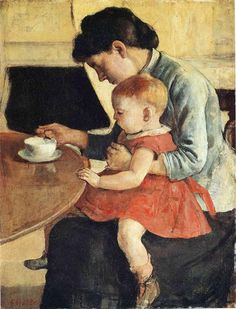 Mother and Child by Ferdinand Hodler. Post-Impressionism. genre painting