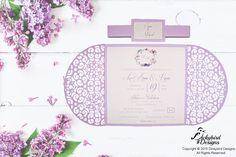 Lilac Laser Cut  Invitations