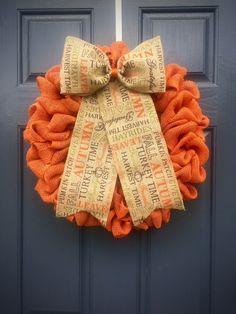 Thanksgiving Wreaths, Orange Burlap Wreath, Fall Wreath, Autumn Wreaths, Burlap Wreaths, Thanksgiving Door Wreath by WreathsByRebeccaB on Etsy