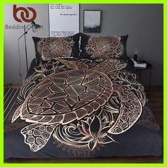 BeddingOutlet Turtles Bedding Set Duvet Animal Golden Tortoise Bed Cover Set King Sizes Flowers Lotus Home Textiles 3pcs Luxury