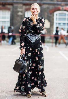 look vestido longo floral