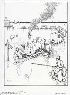 HOW THEY NEGOTIATED THE FLOODED DISTRICTS IN THE SHORT CUT TO THE WEST by WILLIAM HEATH ROBINSON (1872-1944)