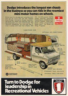 1973 Dodge Recreational Vehicles Vintage Look Reproduction Metal Sign Vintage Motorhome, Vintage Rv, Vintage Campers Trailers, Camper Trailers, Dodge Camper Van, Camper Caravan, Us Cars, Camping Car, House On Wheels