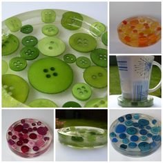 Button resin coasters, set of four - £18 #craftfest