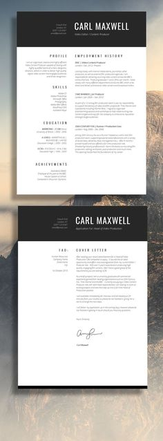 Resume template - CV template and cover letter for MS Word by - single page resume template