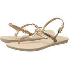 Havaianas Freedom Flip Flops (Rose Gold) Women's Sandals ($33) ❤ liked on Polyvore featuring shoes, sandals, flip flops, gold, flexible shoes, rose gold sandals, havaianas, rose gold shoes and havaianas flip flops