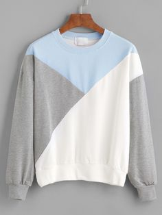 Shop Color Block Drop Shoulder Sweatshirt online. SheIn offers Color Block Drop Shoulder Sweatshirt & more to fit your fashionable needs.