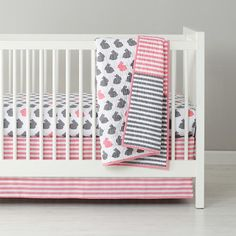 Baby Bedding: Grey Pink Bunny Crib Bedding in Crib Bedding Collections | The Land of Nod if we had more girls