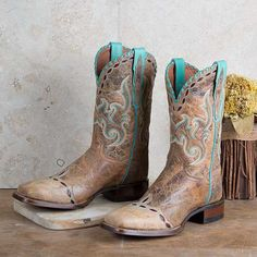 Dan Post Mckenna Painted Boot- The turquoise stitching and maroon inlay give this boot a great pop of color!