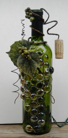Decorative Embellished Wine Bottle Light with Glass Gems, Leaves, and Berries