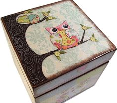 Keepsake, Treasure, Trinket Storage and Organization Box For Baby or Child, Owl… Keepsake Baby Gifts, Keepsake Boxes, Owl Box, Painted Wooden Boxes, Decoupage Box, Pintura Country, Shabby, Treasure Boxes, Pottery Barn Kids