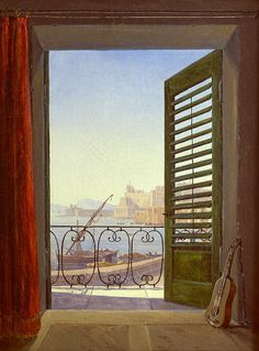 Carl Gustav Carus   Balcony Room Overlooking the Gulf of Naples (via Santa Lucia and the Castel dell'Ovo), 1829 - 1830, oil on canvas, 213 x 284 cm, The Alte Nationalgalerie, Berlin.
