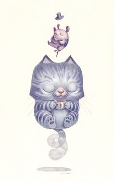chesire cat & the dormouse from alice in wonderland by Charles Santoso