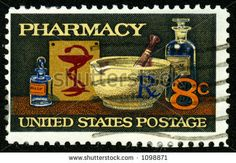 A Vintage Us Postage Stamp Depicting Pharmacy, Eight 8 Cents Stock ...