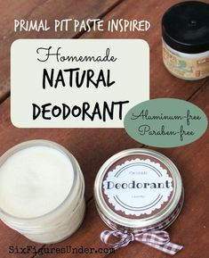 Homemade Deodorant- Natural, Aluminum-Free- Primal Pit Paste Inspired Avoid nasty chemicals with homemade deodorant. This Primal Pit Paste inspired natural deodorant is aluminum free, paraben free and even cheaper than the commercial stuff! Deodorant Recipes, Diy Deodorant, Homemade Natural Deodorant, Homemade Beauty Products, Natural Products, Lush Products, Living Products, Body Products, Beauty Recipe