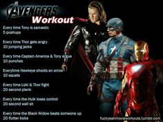 The Avengers Workout! Want to see more workouts like this one? Follow us here.