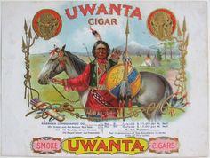 Vintage Indian Cigar Box | THE 1899 'UWANTA' Indian Chief Sample Cigar Box Label | eBay