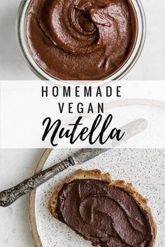 Calling all chocolate lovers! This homemade vegan nutella is made with all natural and healthy ingredients, and loaded with chocolatey goodness! Enjoy on toast, or just on a spoon! #veganrecipe #nutella