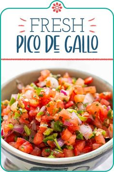 Fresh Tomato Salsa (Pico de Gallo)! Homemade pic de gallo is the best! Chopped fresh tomatoes, chile peppers, red onion, cilantro, and lime are meant to be consumed fresh—it's called salsa fresca, for a reason. #salsa #picodegallo #tomatoes #simplyrecipes