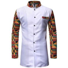 African Clothing Two Piece Suit White Printed Dashiki Set for Men Long Sleeve Shirt Tops and Pants Set Bazin Riche Africa Outfit Latest African Wear For Men, African Shirts For Men, African Attire For Men, African Clothing For Men, Couples African Outfits, African Dresses Men, Latest African Fashion Dresses, African Print Fashion, Africa Fashion
