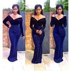 Dark Blue Aso-ebi style velvet long dress for Nigerian wedding bride bridesmaids ideas